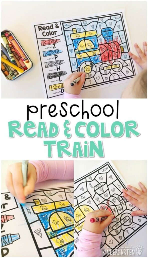 This read & color train activity is great for beginning sound and fine motor practice. Great for a transportation theme in tot school, preschool, or even kindergarten!