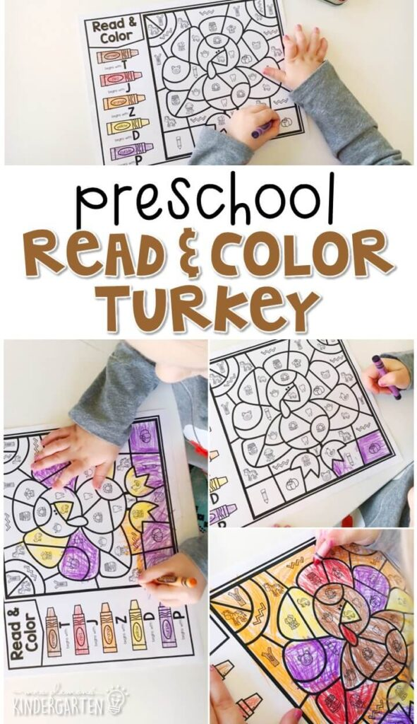 This turkey read and color activity is a great way to work on beginning sounds and fine motor practice with a Thanksgiving theme. Great for tot school, preschool, or even kindergarten!