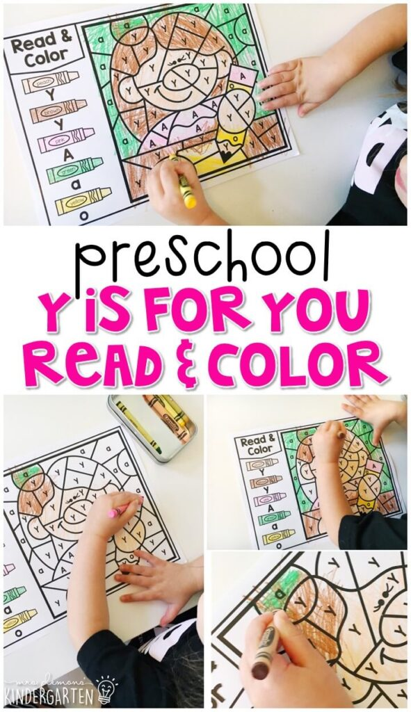 This Y is for you read & color activity is fun for identifying letters and fine motor practice with an all about you theme. Great for tot school, preschool, or even kindergarten!
