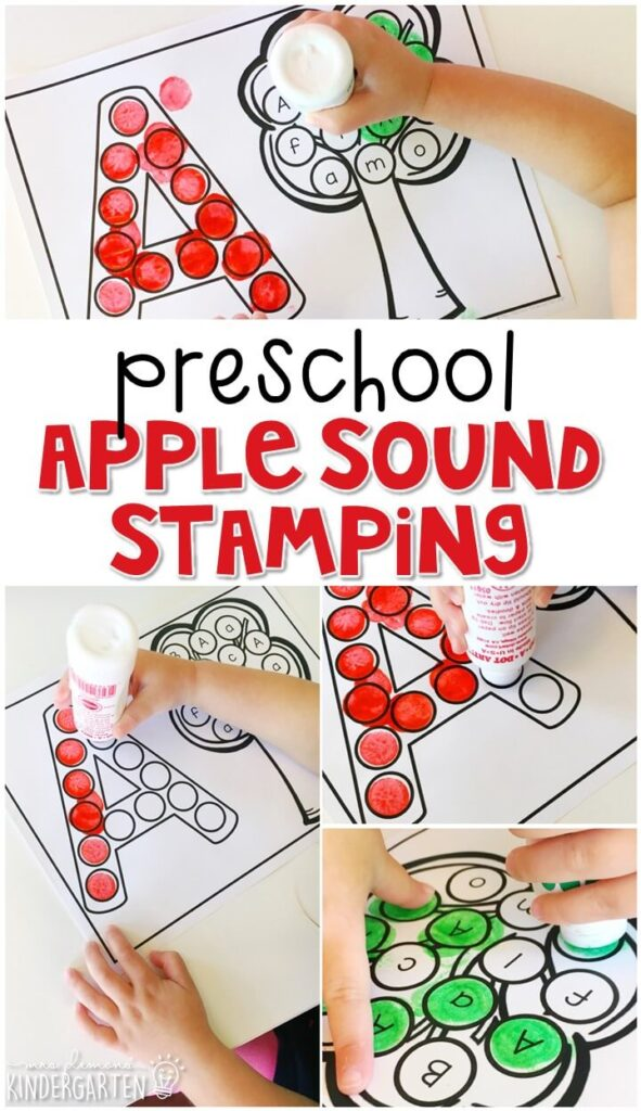 Apple sound stamping is fun for letter, sound, and fine motor practice with an apple theme. Great for tot school, preschool, or even kindergarten!