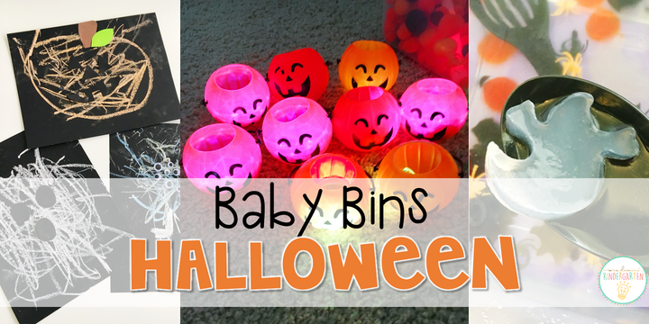 These Halloween themed sensory bins and activities are great for learning and play in the fall and are completely baby safe. Baby Bins are the perfect way to learn, build language, play and explore with little ones between 12-24 months old.