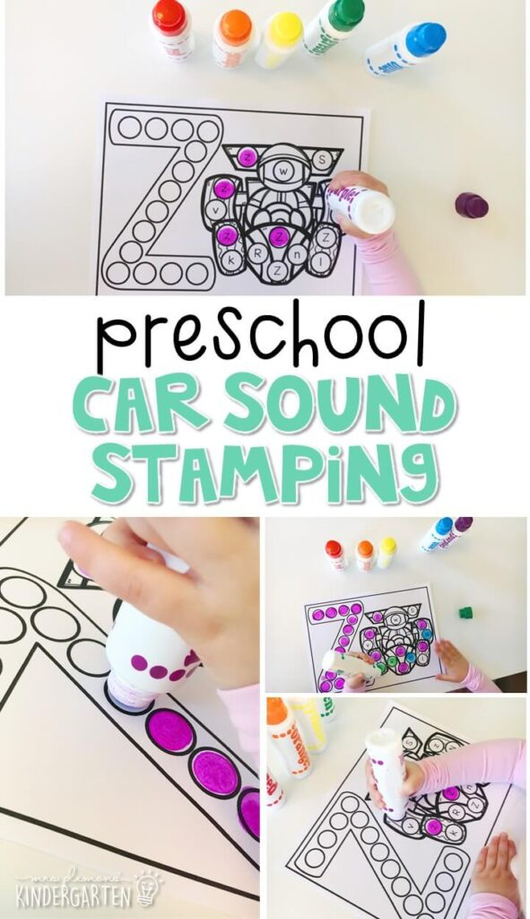 This z is for ZOOM sound stamping activity is perfect for letter, sound, and fine motor practice with a transportation theme. Great for tot school, preschool, or even kindergarten!