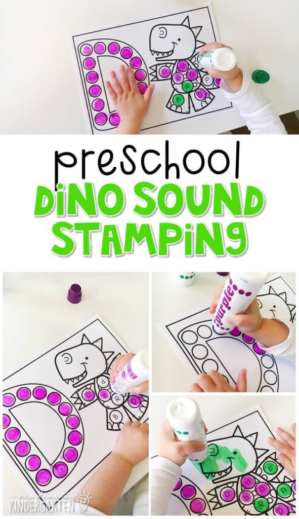 This dinosaur sound stamping activity is perfect for letter, sound, and fine motor practice with a dinosaur theme. Great for tot school, preschool, or even kindergarten!