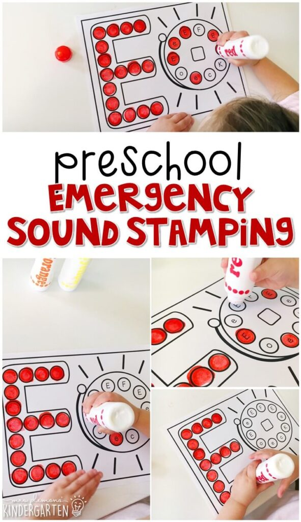This E for Emergency sound stamping activity is perfect for letter, sound, and fine motor practice with a fire safety theme. Great for tot school, preschool, or even kindergarten!