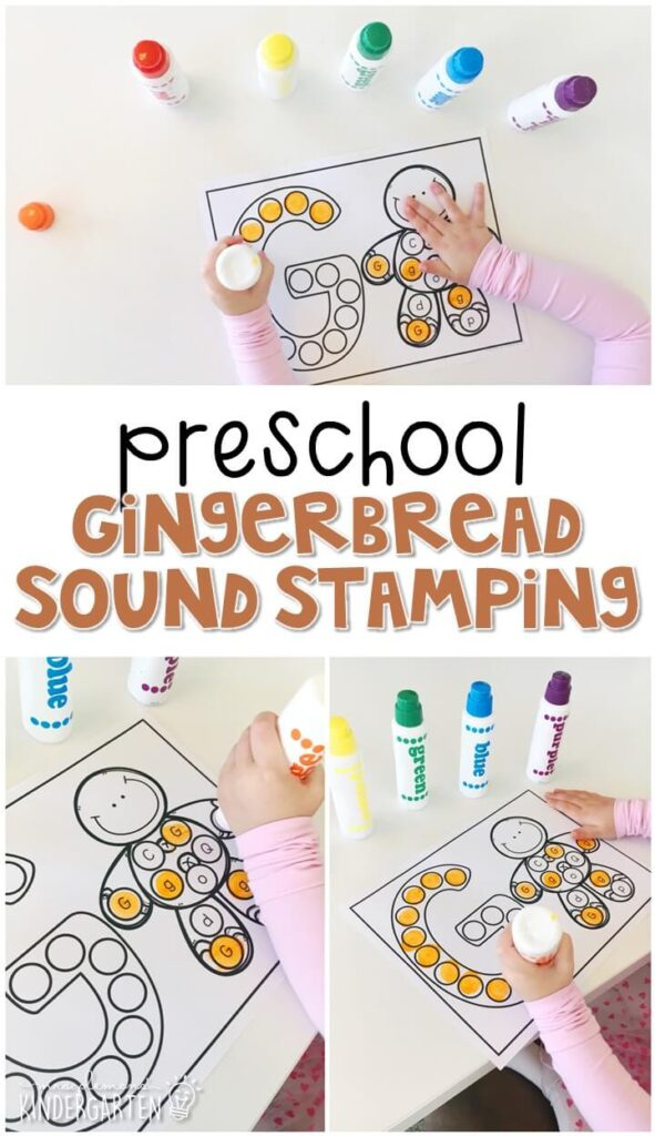 This gingerbread sound stamping activity is perfect for letter, sound, and fine motor practice with a gingerbread theme. Great for tot school, preschool, or even kindergarten!