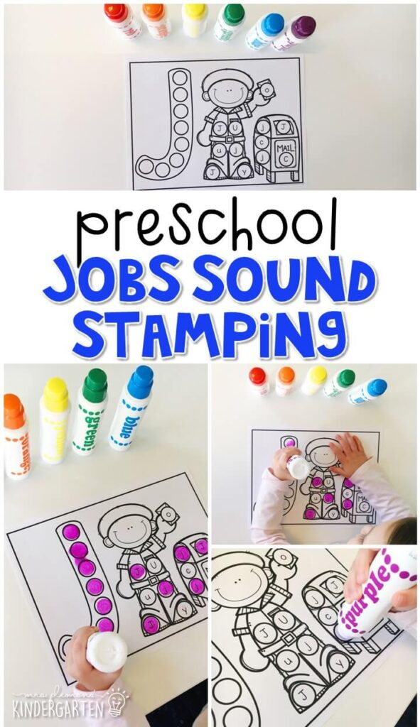 This job sound stamping activity is perfect for letter, sound, and fine motor practice with a community theme. Great for tot school, preschool, or even kindergarten!