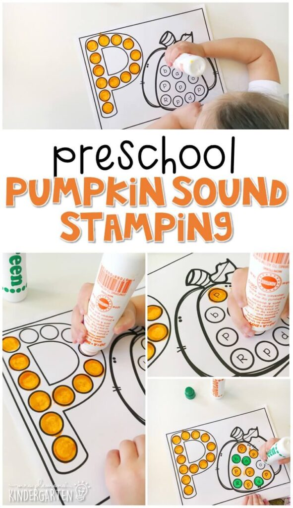 This pumpkin sound stamping activity is perfect for letter, sound, and fine motor practice with a Halloween theme. Great for tot school, preschool, or even kindergarten!
