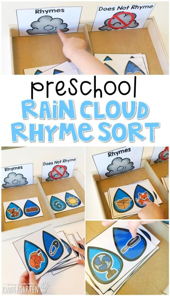 This rain cloud rhyme sort is fun and easy way to introduce rhyming with a weather theme. Great for tot school, preschool, or even kindergarten!