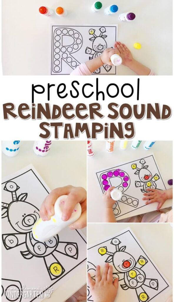 This reindeer sound stamping activity is perfect for letter, sound, and fine motor practice with a reindeer theme. Great for tot school, preschool, or even kindergarten!