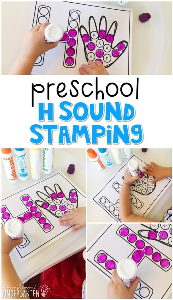 This h is for hands sound stamping is perfect for letter, sound, and fine motor practice with a healthy habits theme. Great for tot school, preschool, or even kindergarten!