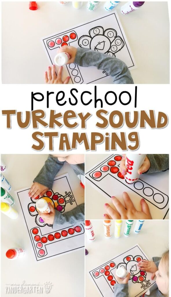 This turkey sound stamping activity is perfect for letter, sound, and fine motor practice with a Thanksgiving theme. Great for tot school, preschool, or even kindergarten!