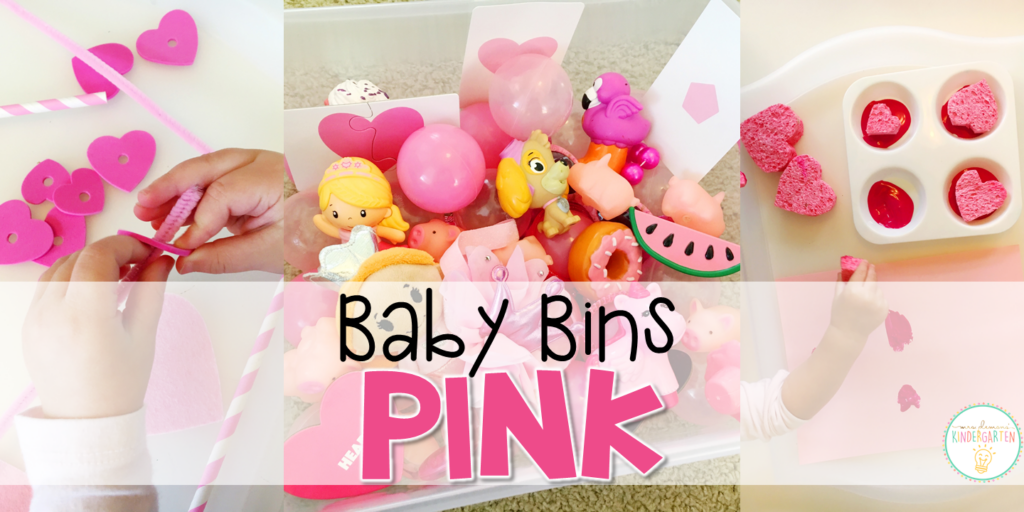 These pink themed sensory bins and activities are great for learning colors and completely baby safe. Baby Bins are the perfect way to learn, build language, play and explore with little ones between 12-24 months old.