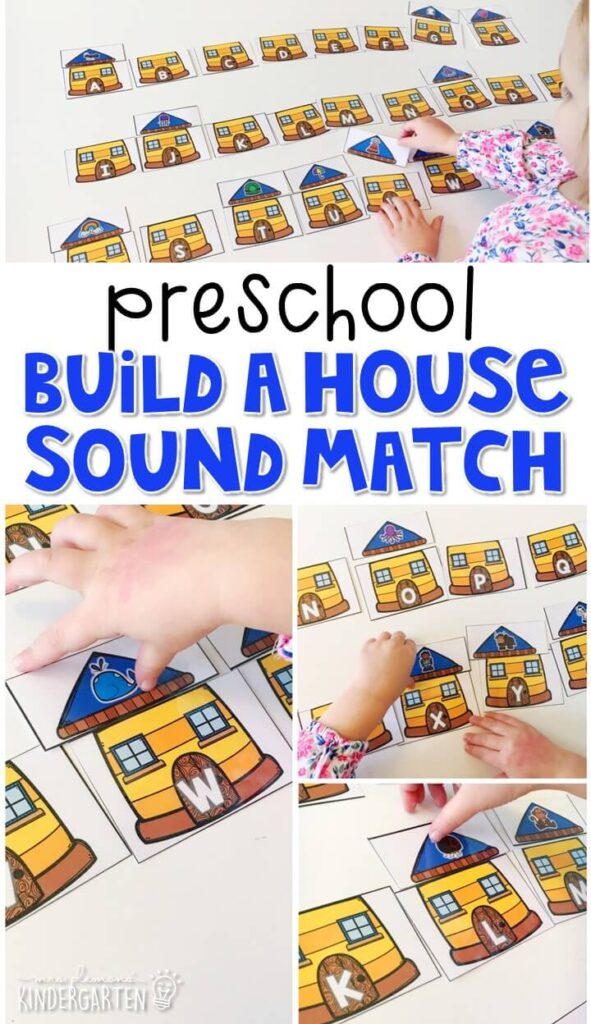 This build a house activity is a fun and easy way to work on beginning sounds with a community theme. Great for tot school, preschool, or even kindergarten!