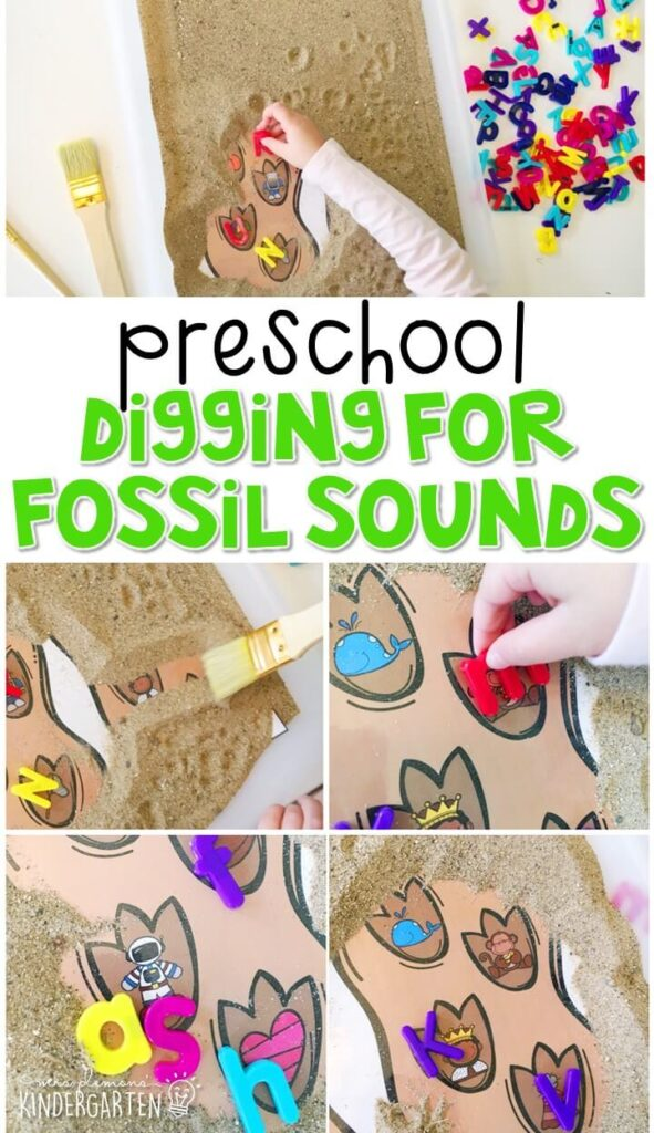 This digging for fossil sounds activity is a fun and easy way to work on beginning sounds with a dinosaur theme. Great for tot school, preschool, or even kindergarten!