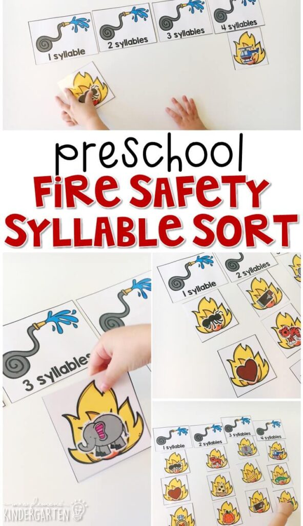 This fire safety syllable sort is fun for introducing syllables with a fire safety theme. Great for tot school, preschool, or even kindergarten!