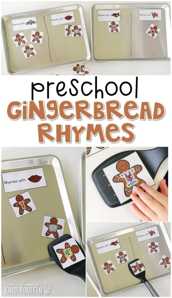This gingerbread rhyme activity is a fun and easy way to work on rhyme with a gingerbread theme. Great for tot school, preschool, or even kindergarten!