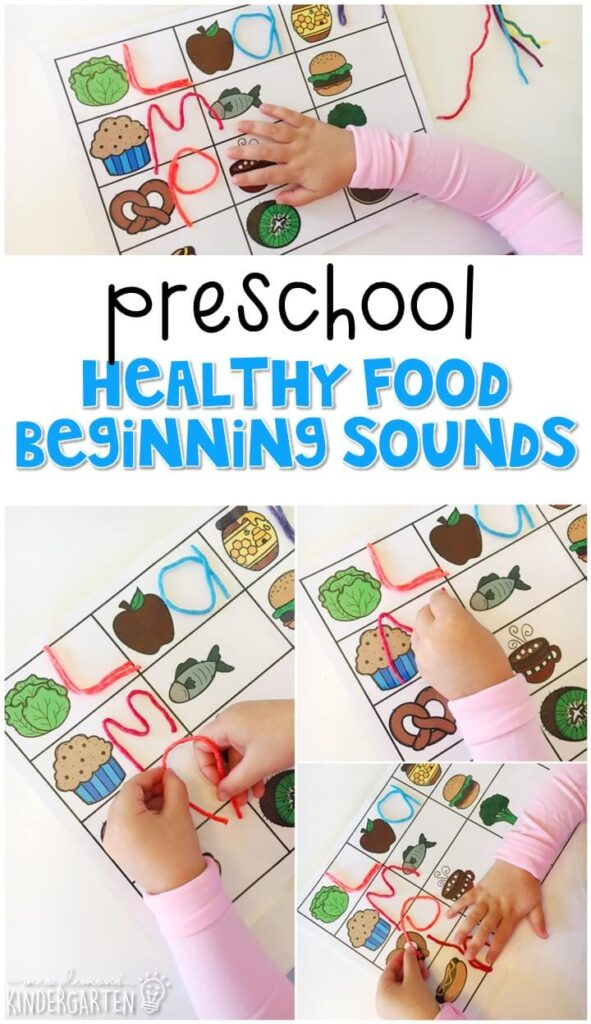 This healthy foods beginning sound activity is great for letter sound practice and fine motor practice with a healthy habits theme. Great for tot school, preschool, or even kindergarten!
