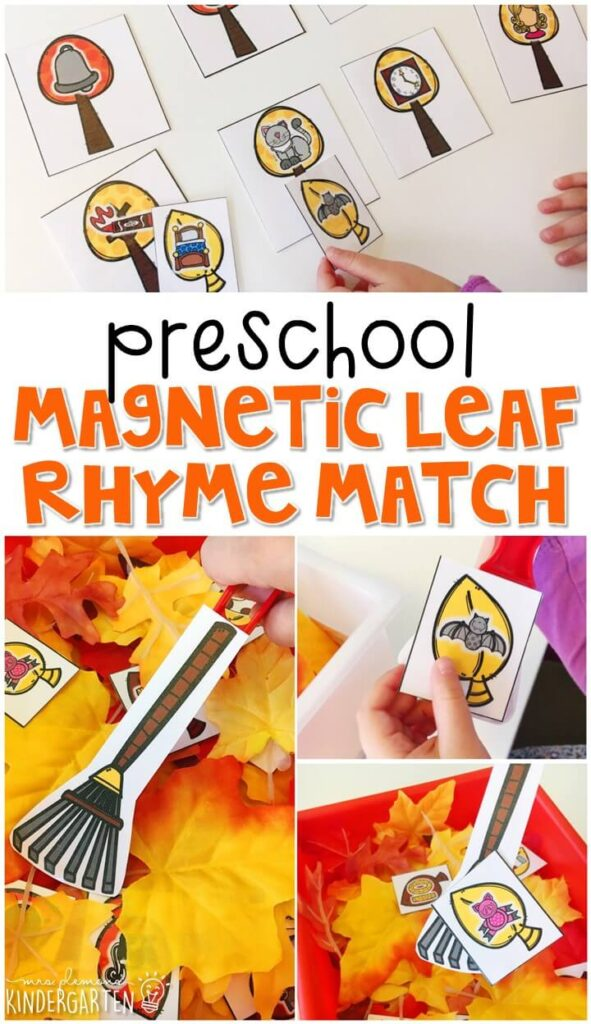 This magnetic leaf rhyme matching activity is perfect for learning about rhymes and working on fine motor skills with a fall theme. Great for tot school, preschool, or even kindergarten!