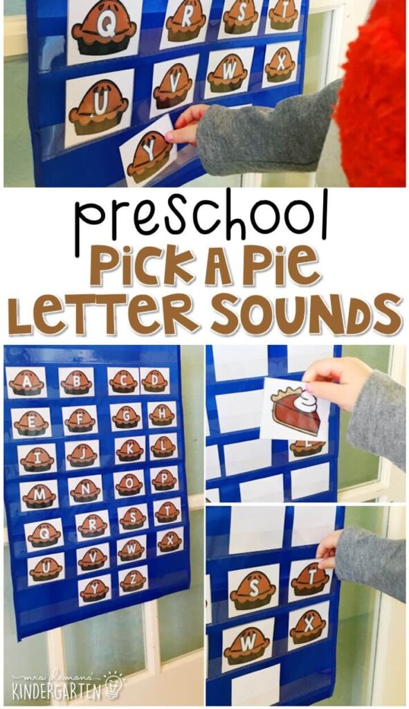 This pick a pie activity is a fun and easy way to work on letters and sounds with a Thanksgiving theme. Great for tot school, preschool, or even kindergarten!