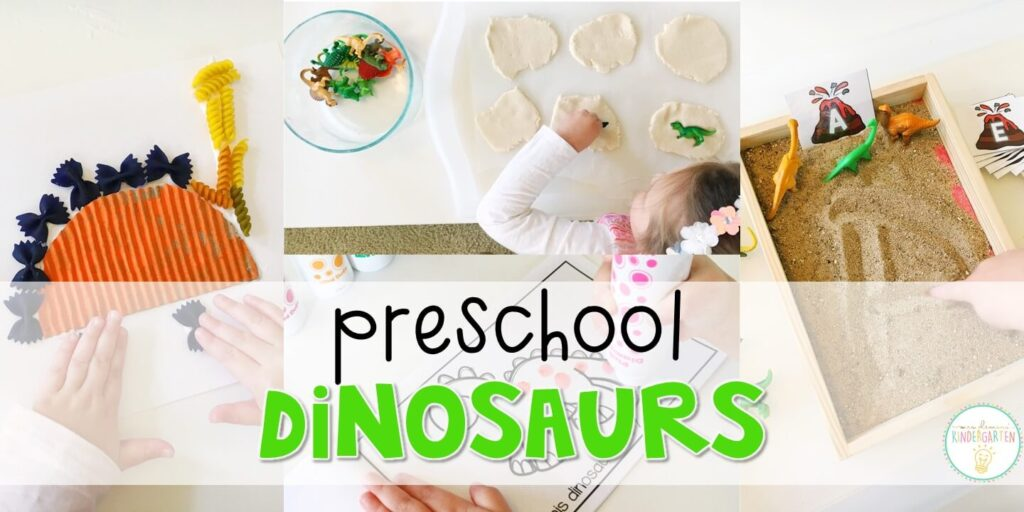 Tons of dinosaur themed activities and ideas. Weekly plan includes books, literacy, math, science, art, sensory bins, and more! Perfect for tot school, preschool, or kindergarten.