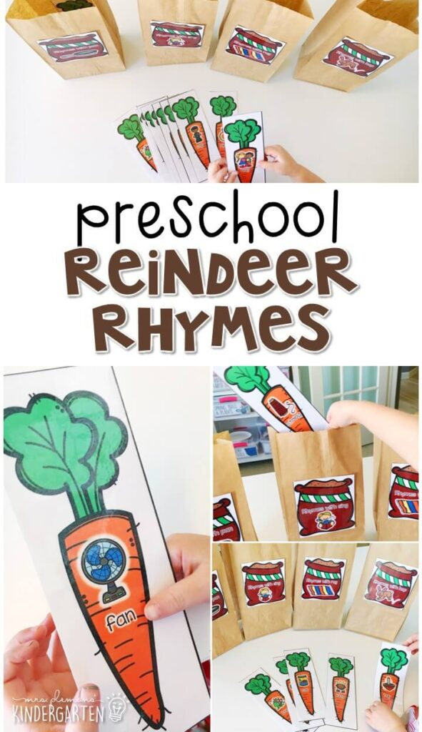 This reindeer rhyme activity is a fun and easy way to work on rhyme with a reindeer theme. Great for tot school, preschool, or even kindergarten!