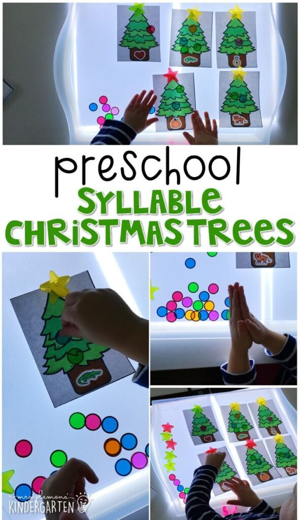 These syllable Christmas trees are a fun and easy way to work on counting syllables with a Christmas theme. Great for tot school, preschool, or even kindergarten!