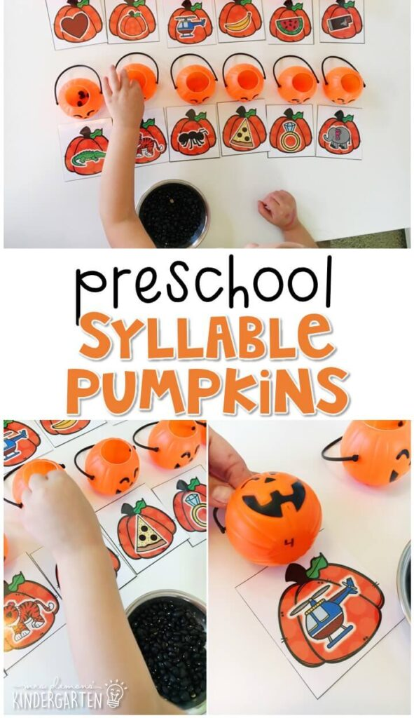This syllable pumpkin activity is a fun and easy way to practice counting syllables with a Halloween theme. Great for tot school, preschool, or even kindergarten!