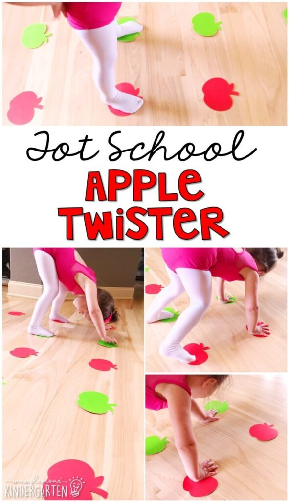 Learning is more fun when it involves movement! Work on color recognition, identifying body parts, and left/right with apple twister! Great activity for an apple theme in tot school, preschool, or even kindergarten!