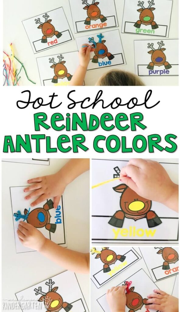 Wikki Stix are a really fun material to use for fine motor practice. We had fun matching an making reindeer antlers while working on color identification. Great for Christmas time in tot school, preschool, or even kindergarten!