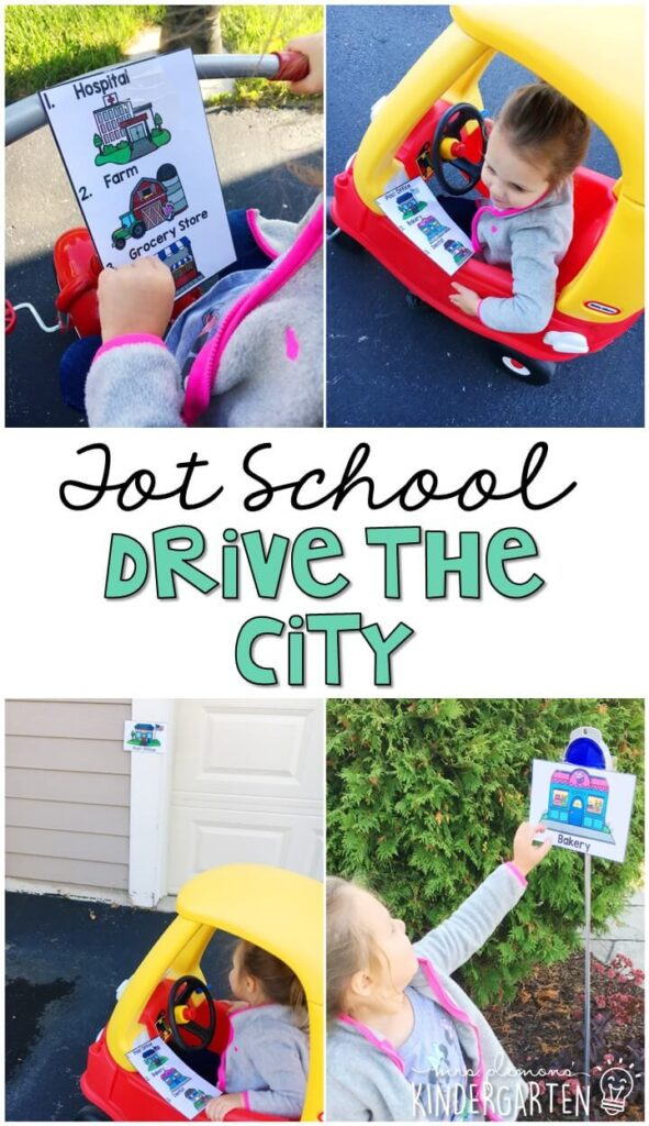 Learning is more fun when it involves movement! Practice pre reading skills with this drive the city gross motor activity. Great for tot school, preschool, or even kindergarten!