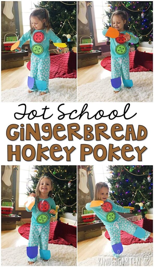 This gingerbread Hokey Pokey activity was a fun gross motor activity for our gingerbread theme and a great way to practice color and body part identification. Great for Christmas time tot school, preschool, or even kindergarten!