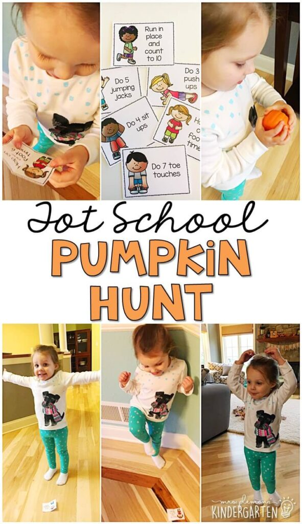Learning is more fun when it involves movement! Practice all kinds of movements and exercises with this pumpkin hunt gross motor game. Great for tot school, preschool, or even kindergarten!