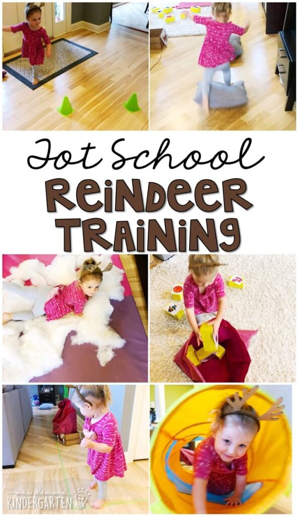 Learning is more fun when it involves movement! Practice moving like a reindeer with this reindeer training obstacle course. Great for Christmas time in tot school, preschool, or even kindergarten!