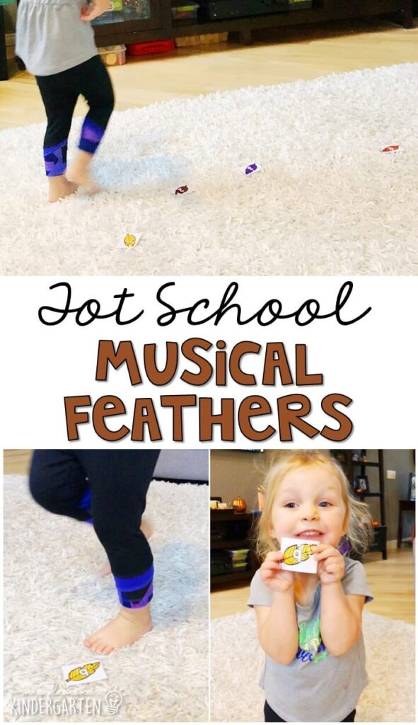 Learning is more fun when it involves movement! Dance and identifying letters with this musical feather gross motor activity. Great for a Thanksgiving theme in tot school, preschool, or even kindergarten!