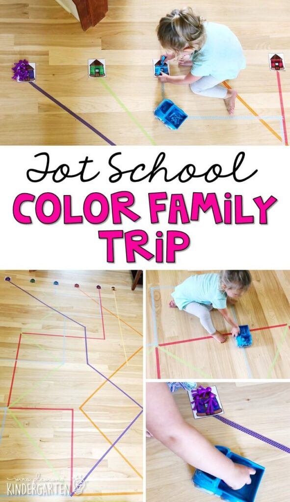 Learning is more fun when it involves movement! Work on color recognition and sorting with this color family trip activity! Great activity for an all about me or family theme in tot school, preschool, or even kindergarten!