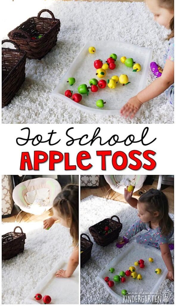 Learning is more fun when it involves movement! Work on sorting or just have fun working on throwing skills. Great activity for an apple theme in tot school, preschool, or even kindergarten