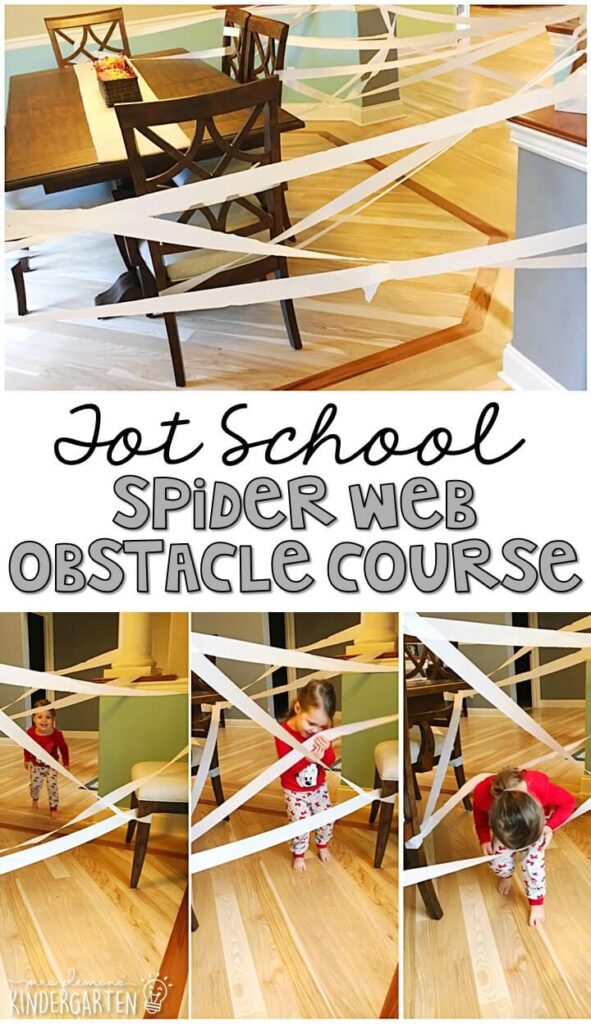 Tons of bat and spider themed activities and ideas. Weekly plan includes books, fine motor, gross motor, sensory bins, snacks and more! Perfect for fall and Halloween in tot school, preschool, or kindergarten.