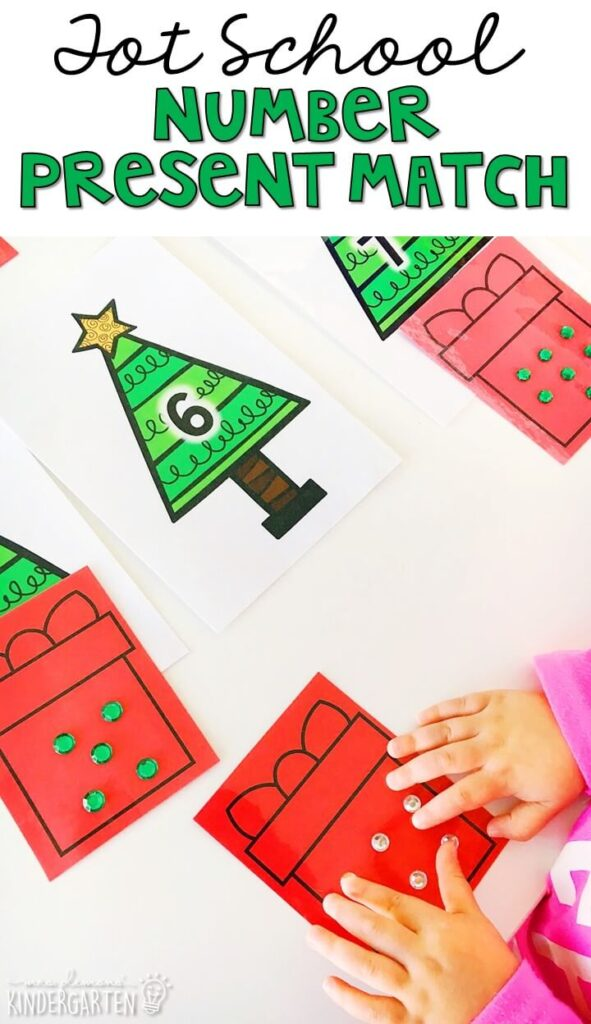 We had so much fun counting and adding stickers to these number presents for fine motor practice. Great for Christmas time in tot school, preschool, or even kindergarten!