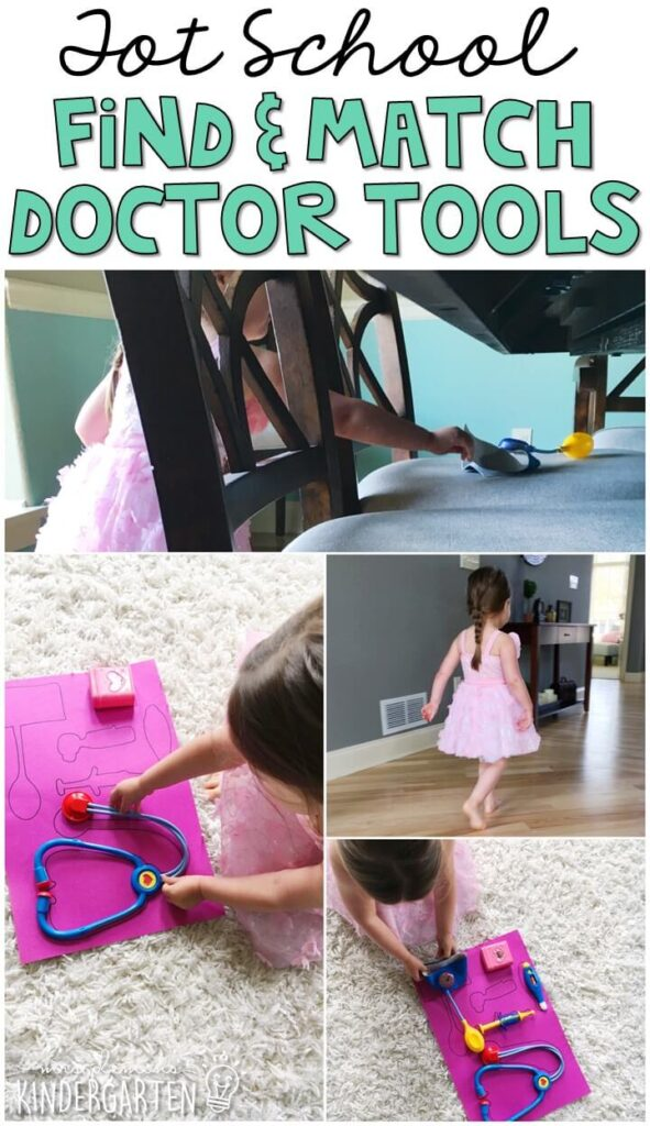 Learning is more fun when it involves movement! Trace all the tools from a doctors kits on a large sheet of paper. Then hide them around the room for a fun hunt and match gross motor activity. Great for tot school, preschool, or even kindergarten!