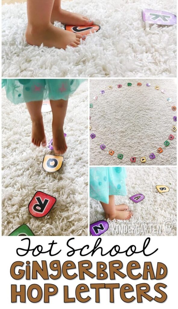 Learning is more fun when it involves movement! Practice stomping, dancing, and identifying letters with this gumdrop alphabet gross motor activity. Great for Christmas time tot school, preschool, or even kindergarten!