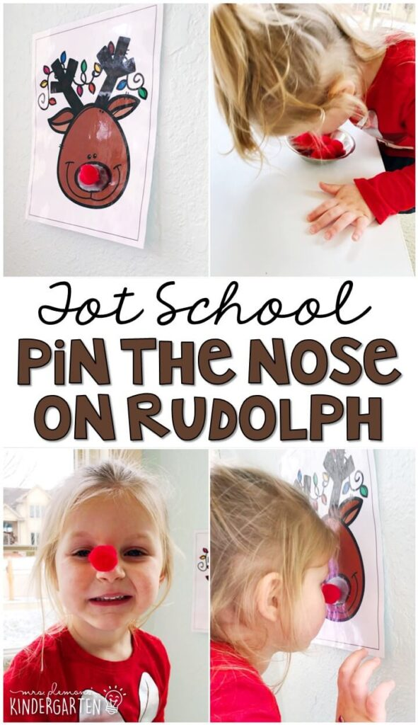 Learning is more fun when it involves movement! Pin the nose on Rudolph was such a fun gross motor activity. Great for Christmas time in tot school, preschool, or even kindergarten!