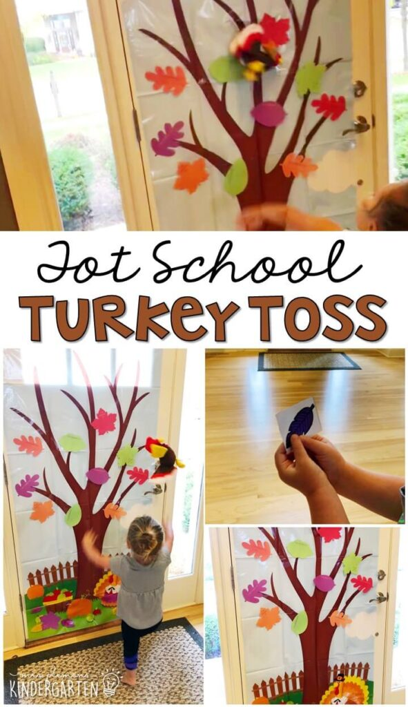 Learning is more fun when it involves movement! Practice throwing and color identification with this turkey toss gross motor activity. Great for a Thanksgiving theme in tot school, preschool, or even kindergarten!