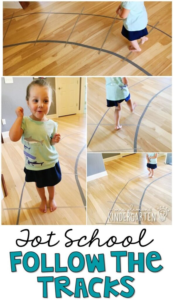 Learning is more fun when it involves movement! This follow the tracks activity was an easy and fun gross motor activity for our transportation theme. Great for tot school, preschool, or even kindergarten!