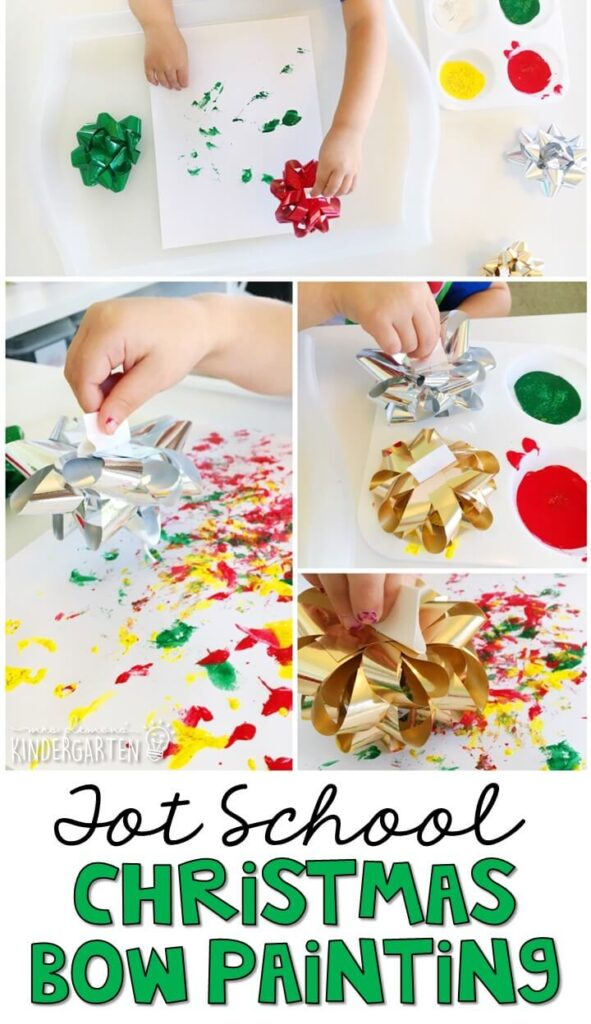 Painting with bows was a fun texture to incorporate fine motor practice. Great for Christmas time in tot school, preschool, or even kindergarten!