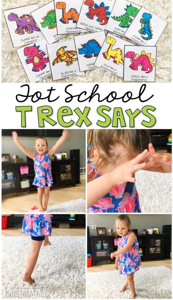 Learning is more fun when it involves movement! Practice all kinds of movement and listening skills with this T-Rex says gross motor activity. Great for tot school, preschool, or even kindergarten!