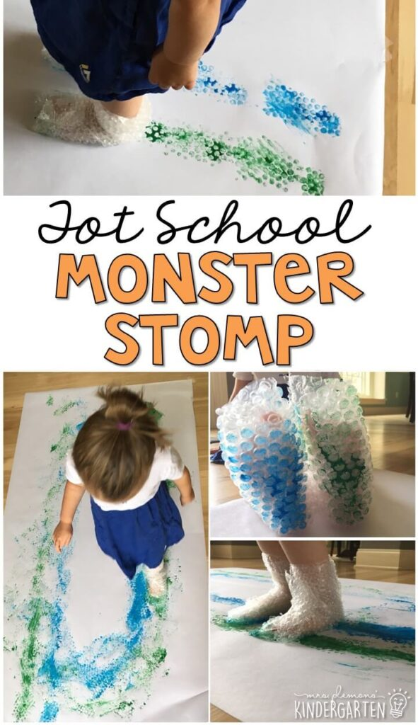 Learning is more fun when it involves movement! Get lots of energy out with this monster stomp gross motor activity. Great for tot school, preschool, or even kindergarten!