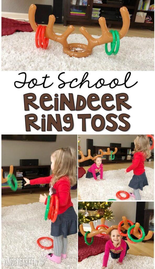 Learning is more fun when it involves movement! Reindeer ring toss was a simple fun gross motor activity in tot school, preschool, or even kindergarten!