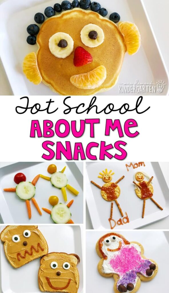 These yummy all about me themed snacks are perfect for tot school, preschool, or kindergarten!
