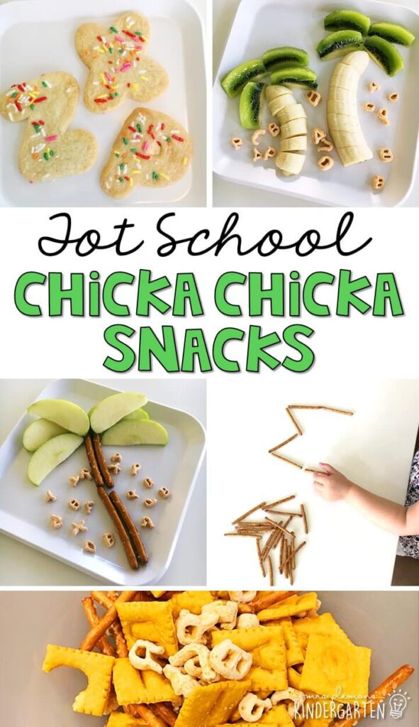 These yummy alphabet themed snacks are perfect for Chicka Chicka Boom Boom theme in tot school, preschool, or kindergarten!