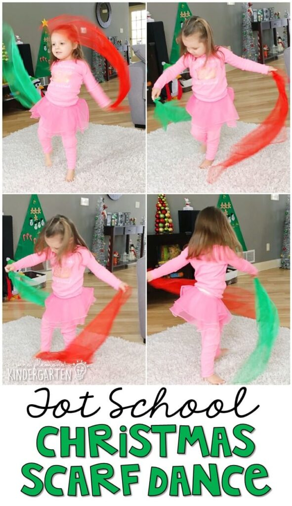 Learning is more fun when it involves movement! Dancing with scarves to Christmas music was a great way to get moving indoors. Great for Christmas time in tot school, preschool, or even kindergarten!